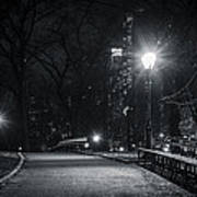 Central Park At Night Poster