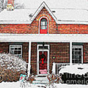 Century Home With Christmas Wreath Poster