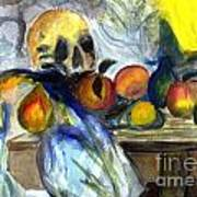 Cezanne Still Life With Skull Poster