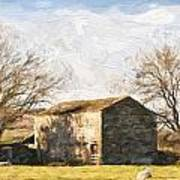 Cezanne Style Digital Painting Panorama Landscape Traditional Stone Barn In Autumnal Countrysid Poster