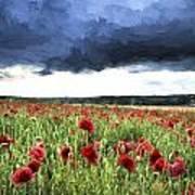 Cezanne Style Digital Painting Stunning Poppy Field Landscape In Summer Sunset Light Poster
