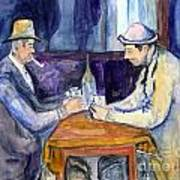 Cezannes The Card Players In Watercolor Poster