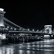 Chain Bridge Night Bw Poster