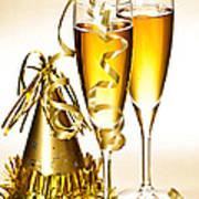 Champagne And New Years Party Decorations Poster
