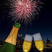 Champagne Toast With Portland Oregon Skyline Poster