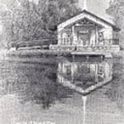 Chapel On A Lake Pencil Portrait Poster