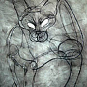Charcoal Cat Poster
