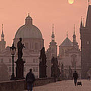 Charles Bridge At Dusk With The Church Poster