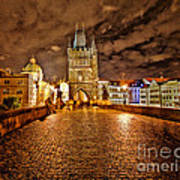 Charles Bridge At Night Poster