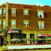 Charlevoix Pizza Et Chic Regal Rue Centre Scenes De Rue Pointe St Charles City Scenes Carole Spandau Poster