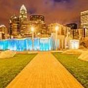 Charlotte City Skyline At Night Poster