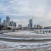 Charlotte North Carolina Skyline In Winter Poster