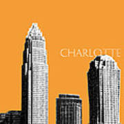 Charlotte Skyline 2 - Orange Poster by DB Artist