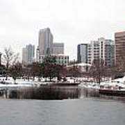 Charlotte Skyline In Snow Poster