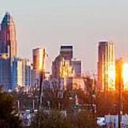 Charlotte Skyline In The Evening Before Sunset Poster