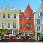 Charming Town Square In Old Town Tallinn-estonia Poster