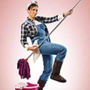Charwoman On Pink Poster