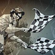 Checkered Flag Grunge Monochrome Poster