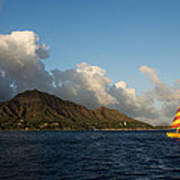 Cheerful Orange Catamaran And Diamond Head - Waikiki - Hawaii Poster