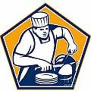 Chef Cook Slicing Ham Retro Poster