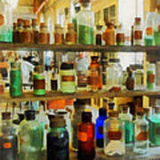 Chemistry - Bottles Of Chemicals Green And Brown Poster
