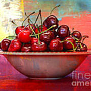 Cherries On The Table With Textures Poster