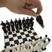 Chess Being Played With Little People Poster