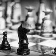 Chess Game In Black And White Poster