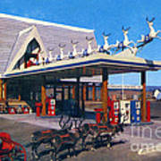 Chevron Gas Station At Santa's Village With Reindeer And Carl Hansen Poster