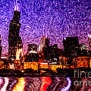 Chicago At Night Digital Art Poster by Paul Velgos