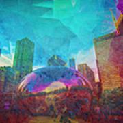 Chicago Bean Skyline Illinois Digital Paint Poster