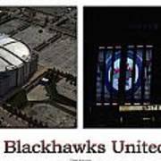 Chicago Blackhawks United Center 2 Panel White Signage Poster