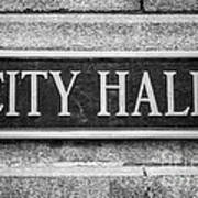 Chicago City Hall Sign In Black And White Poster
