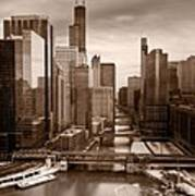 Chicago City View Afternoon B And W Poster