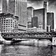 Wells Street Bridge Chicago HDR Photo Poster