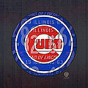 Chicago Cubs Baseball Team Retro Vintage Logo License Plate Art Poster by Design Turnpike