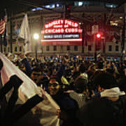 Chicago Cubs Fans Gather To Watch Game Poster