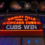 Chicago Cubs Win Fireworks Night Poster