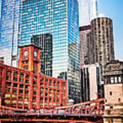Chicago Downtown At Lasalle Street Bridge Poster