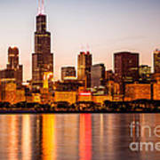 Chicago Downtown City Lakefront With Willis-sears Tower Poster by Paul Velgos