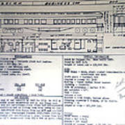 Chicago Eastern Il Rr Business Car Blue Print Poster
