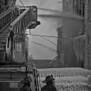 Chicago Firemen Looking On Poster