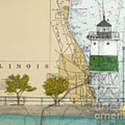 Chicago Harbor Se Guidewall Lighthouse Il Nautical Chart Art Poster