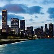 Chicago Lake Front At Blue Hour Poster