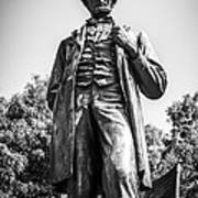 Chicago Lincoln Standing Statue In Black And White Poster by Paul Velgos