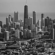 Chicago Looking East 01 Black And White Poster