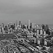 Chicago Looking North 01 Black And White Poster