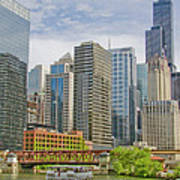 Chicago Loop Downtown Skyline From Chicago River   Poster