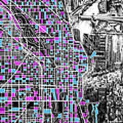 Chicago Map Drawing Collage 4 Poster