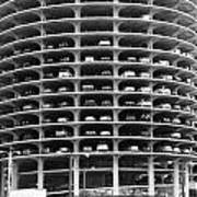 Chicago Marina City Parking Bw Poster